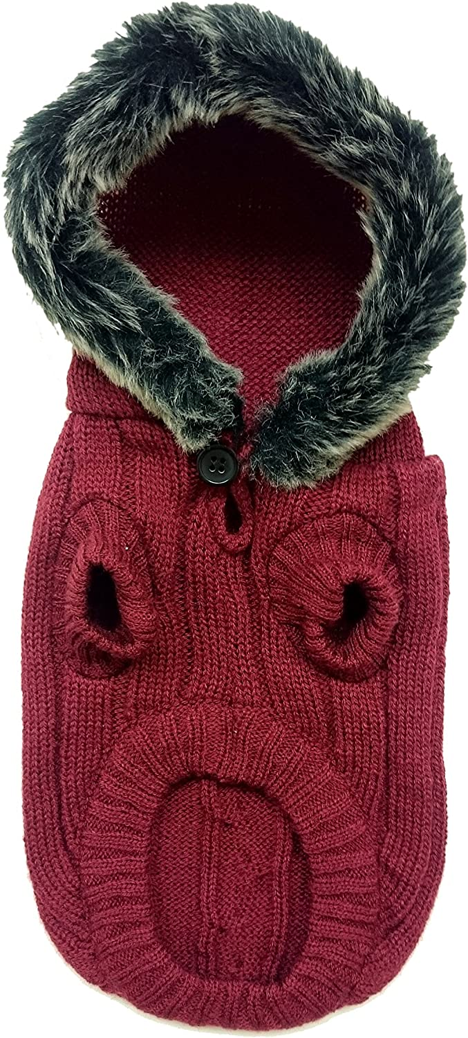 Fashion Pet 652325 Merlot Outdoor Dog Faux Fur Hooded Sweater, Medium