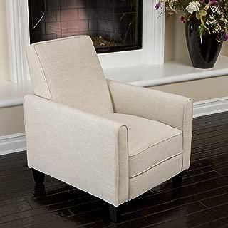 Christopher Knight Home 224738 Lucas Sleek Modern Beige Fabric Upholstered Recliner Club Chair, Light