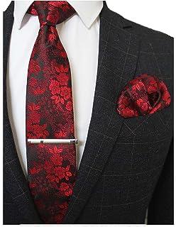 JEMYGINS Floral Necktie and Pocket Square Tie Clip Sets for Men