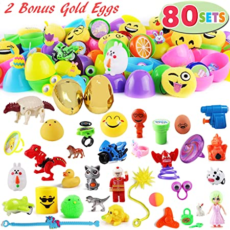 2.36 in Prefilled Plastic Eggs with Small Toys Inside for Easter Party Favors YEAHBEER 48 Pack Toys Filled Easter Eggs Easter Eggs Hunt and Basket Stuffers Fillers
