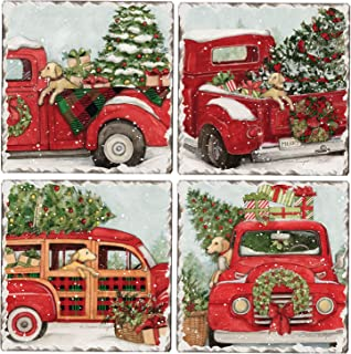CounterArt Set of 4 Assorted Tumbled Tile Coasters, Vintage Trucks with Pups