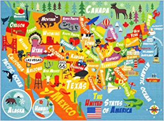 (0.9m x 1.2m) - KC CUBS Playtime Collection USA United States Map Educational Learning & Game Area Rug Carpet for Kids and...