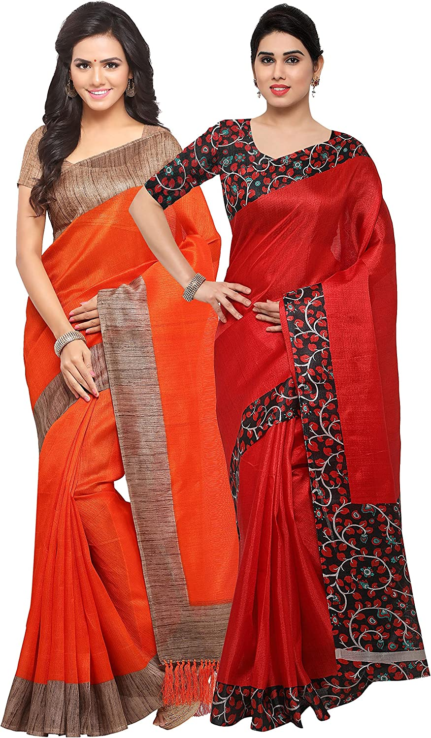 Rajnandini Women's Tussar Silk Plain Saree(JOPLNB3006D6004D_Combo Of 2)