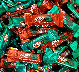 Kit Kat Christmas, Red Green Kit Kat Crisp Wafers in Milk Chocolate Snack Size (Pack of 2 Pounds)