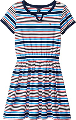 Yarn-Dye Stripe Jersey Dress with Solid Trim (Big Kids)