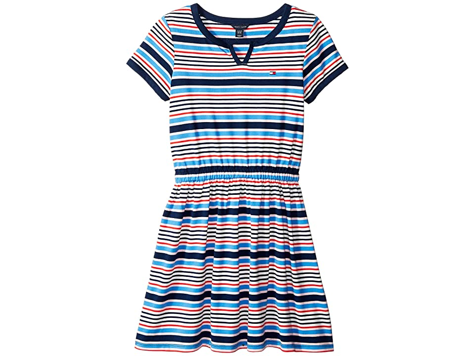 Tommy Hilfiger Kids Yarn-Dye Stripe Jersey Dress with Solid Trim (Big Kids) (Flag Blue) Girl