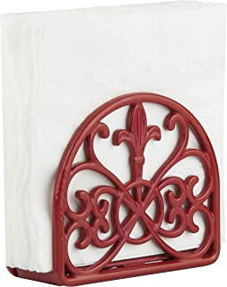 Home Basics NH44393 Cast Iron Paper Napkin Holder/Freestanding Tissue Dispenser for Kitchen Countertops, Dining, Picnic Table, Indoor & Outdoor Use, Red