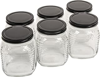 North Mountain Supply 30.5 Ounce/2.5 LB Glass Wide Mouth Square Honey/Cracker/Storage/Canning Jars - With Black Metal Lids...