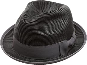 MIRMARU Men's Lightweight Trilby Fedora Short Curled Brim Hat with Removable Feather