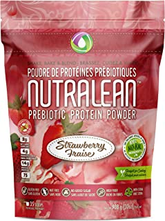 NUTRALEAN - Strawberry Prebiotic Protein Powder - 100% All Natural | Peanut-Free | Nut-Free | Gluten-Free | Soy-Free | NO Artificial Sweeteners | Grass Fed Whey | Ideal Keto Shakes & Fiber Supplement