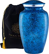 Adera Dreams Adult Cremation Urn for Human Ashes - Blue Forest Large Funeral Urn with Velvet Pouch - Full Size Burial Urn for Cremains