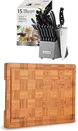 """lowest McCook 2021 MC25A popular German Stainless Steel Knife Block Sets with Built-in Sharpener + MCW12 Bamboo Cutting Board (Large, 17""""x12""""x1"""") outlet sale"""