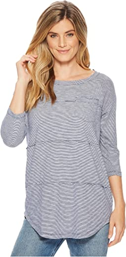 Micro Stripe 3/4 Sleeve Raw Edge Seamed T-Shirt