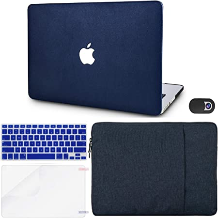 """KECC Laptop Case Compatible with MacBook Air 13"""" w/Keyboard Cover + Sleeve + Screen Protector + Webcam Cover (5 in 1 Bundle) ltalian Leather Case A1466/A1369 (Dark Blue Leather)"""
