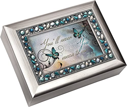 You'll Never Know How Much You Mean to Me Musical Music bijoux Box - Plays What a Wonderful World, Metallic argent by Cottage Garden