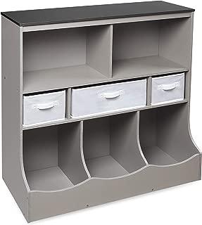 Badger Basket Freestanding Combo Shelf Cubby Bin Storage Organizer Unit with 3 Baskets, Light Gray/Dark Gray/White