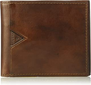 GUESS mens Leather Slim Bifold Wallet Wallet