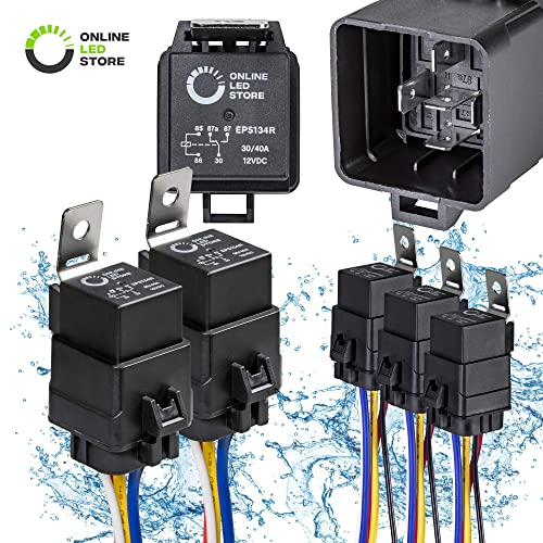 online led store 5 pack 40/30 amp waterproof relay switch harness set - 12v