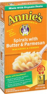 Annie's Macaroni and Cheese, Spirals with Butter & Parmesan Mac and Cheese, 5.25 oz Box (Pack of 12)