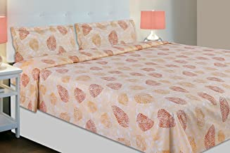 haus & kinder Leaves Block Print, 186 TC, 100% Cotton Double Bedsheet with 2 Pillow Covers