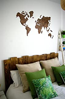wood carved world map