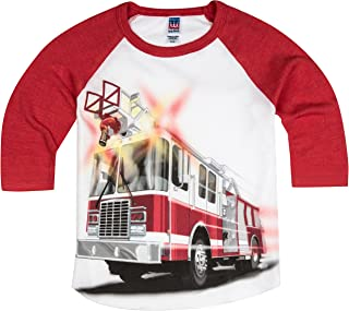 Little Boys' Big Red Fire Truck Raglan T-Shirt