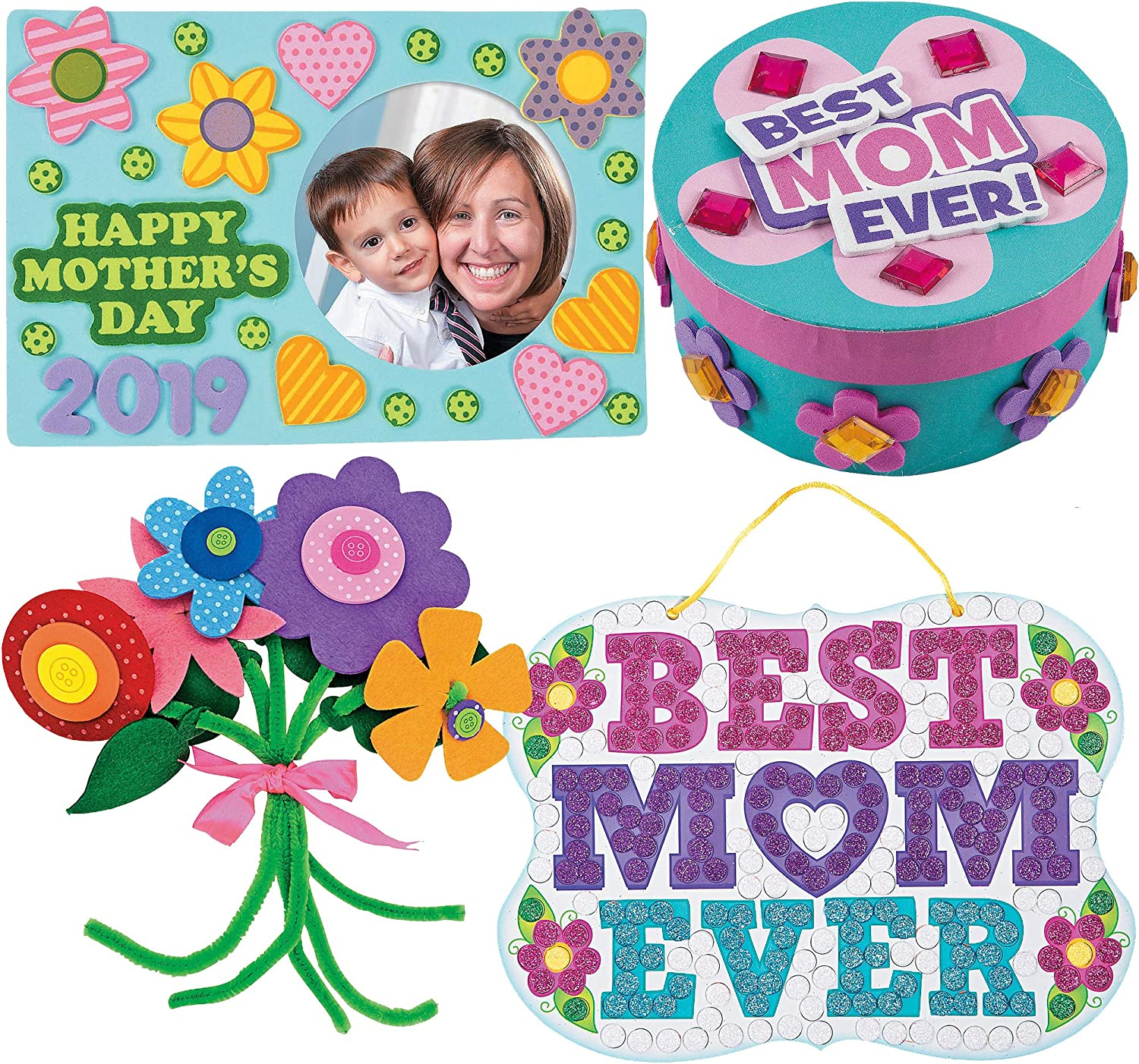 Mothers Day Craft Kit   Mum Picture Photo Frame, Self-Adhesive Flower Bouquet, Bike Magnet, Mom Glitter Mosaic Sign & Jewelry Box Craft   Kids DIY Classroom Daycare Homeschool Art Gift Toys Boys Girls