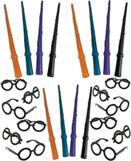 Bulk Wizard Wands and Glasses, Magic Wizard Wand Birthday Party Favor Set, 12 Plastic Wizard Wands, 12 Wizard Glasses, Wizard Party Supplies, 4E's Novelty