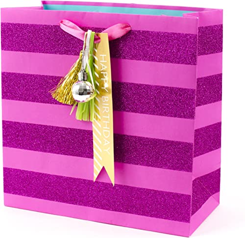 "Hallmark Signature 10"" Large Birthday Gift Bag (Pink Glitter Stripe with Tassel and Gold Birthday Gift Tag)"