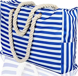 "Beach Bag XXL (Huge). 100% Waterproof. L22""xH15""xW6"" (56x38x15cm). Rope Handles, Top Zipper, Outside Pockets. Shoulder Beach Tote has Phone Case, Built-in Key Holder, Bottle Opener (Bright Blue)"