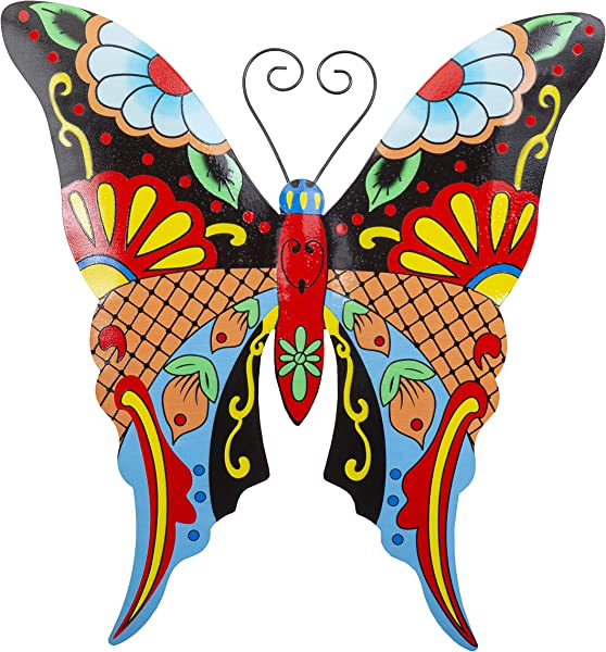 Whimsical Butterfly Metal Wall Art Talavera Style Home Decor Stylish Wall Decorations For Living Room Kitchen Outdoors Office Bedroom Garden Bathroom 13x12 Inches Butterfly