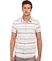Lucky Brand - Short Sleeve Verrigated Striped Button Down