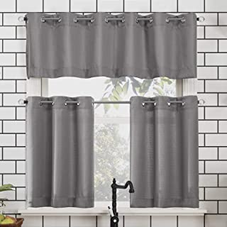 """No. 918 Dylan Casual Textured Semi-Sheer Grommet Kitchen Curtain Valance and Tiers Set, 54"""" x 24"""" 3-Piece, Gray"""