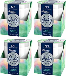 Glade Scented Candle - Atmosphere Collection - No 1 Enraptured - Jasmine & Cedarwood - Net Wt. 4.2 OZ (119 g) Per Candle - Pack of 4 Candles