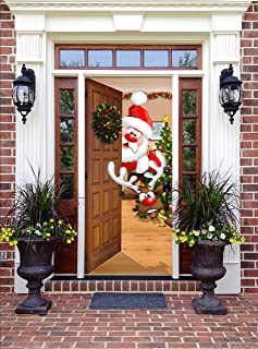 Victory Corps Christmas Front Door Banner Mural Sign Decor - Santa and Rudolph - The Original Holiday Garage and Front Door Banner Decor
