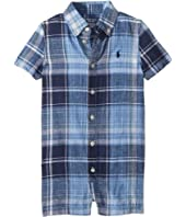 Plaid Linen-Cotton Shortalls (Infant)