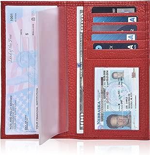 Leather Checkbook Cover Holder for Women and men - Standard Register Duplicate Checks RFID Card Slim Mens Wallet
