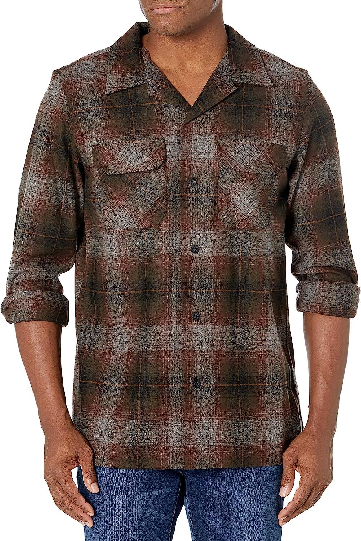1950s Mens Shirts | Retro Bowling Shirts, Vintage Hawaiian Shirts Pendleton Mens Long Sleeve Fitted Board Wool Shirt  AT vintagedancer.com