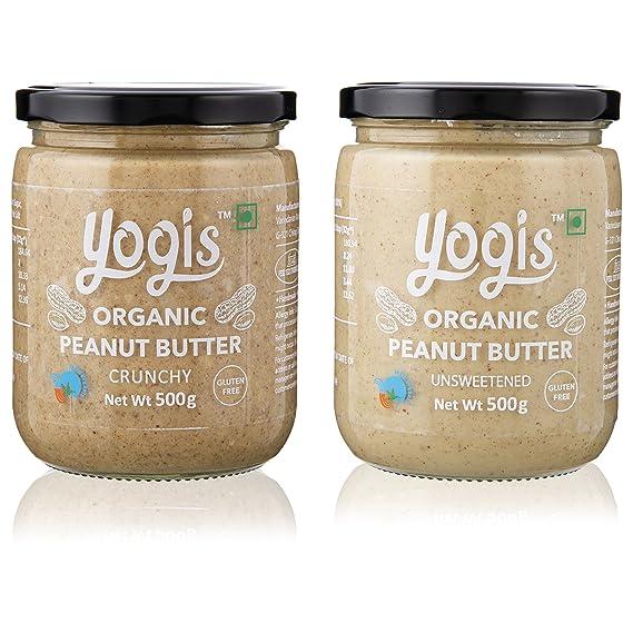 Yogis Certified Organic Peanut Butter Unsweetened, 500 Grams & Organic Peanut Butter Crunchy, 500 Grams (Combo of 2)