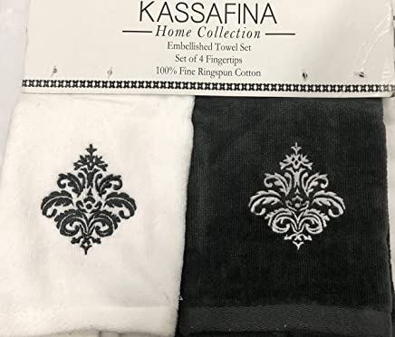 Kassa Fina Home Collection Embellished Towel, Set Of 4 Fingertips, White & Dark Gray