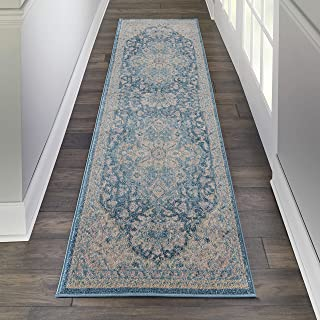 """Nourison TRA07 Tranquil Persian Vintage Light Grey Multicolor Area Rug Runner 2'3"""" X 7'3"""", 2' x 7'"""