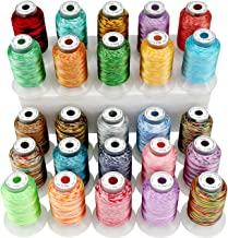 New brothread 25 Colors Variegated Polyester Embroidery Machine Thread Kit 500M (550Y) Each Spool for Brother Janome Babyl...