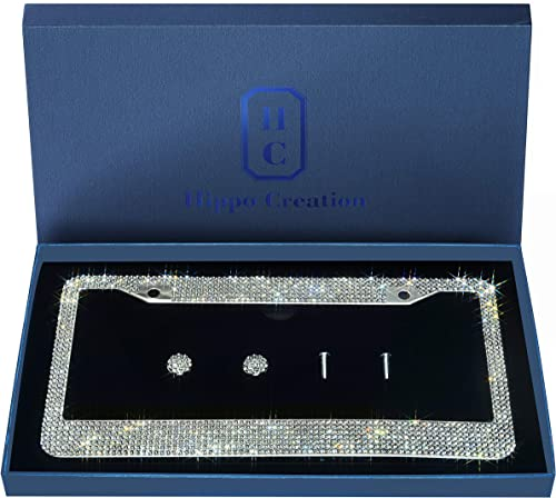 1 Pack Luxury Handcrafted Clear Rhinestone Premium Stainless Steel Bling License Plate Frame with Gift Box | 1000+ pc...