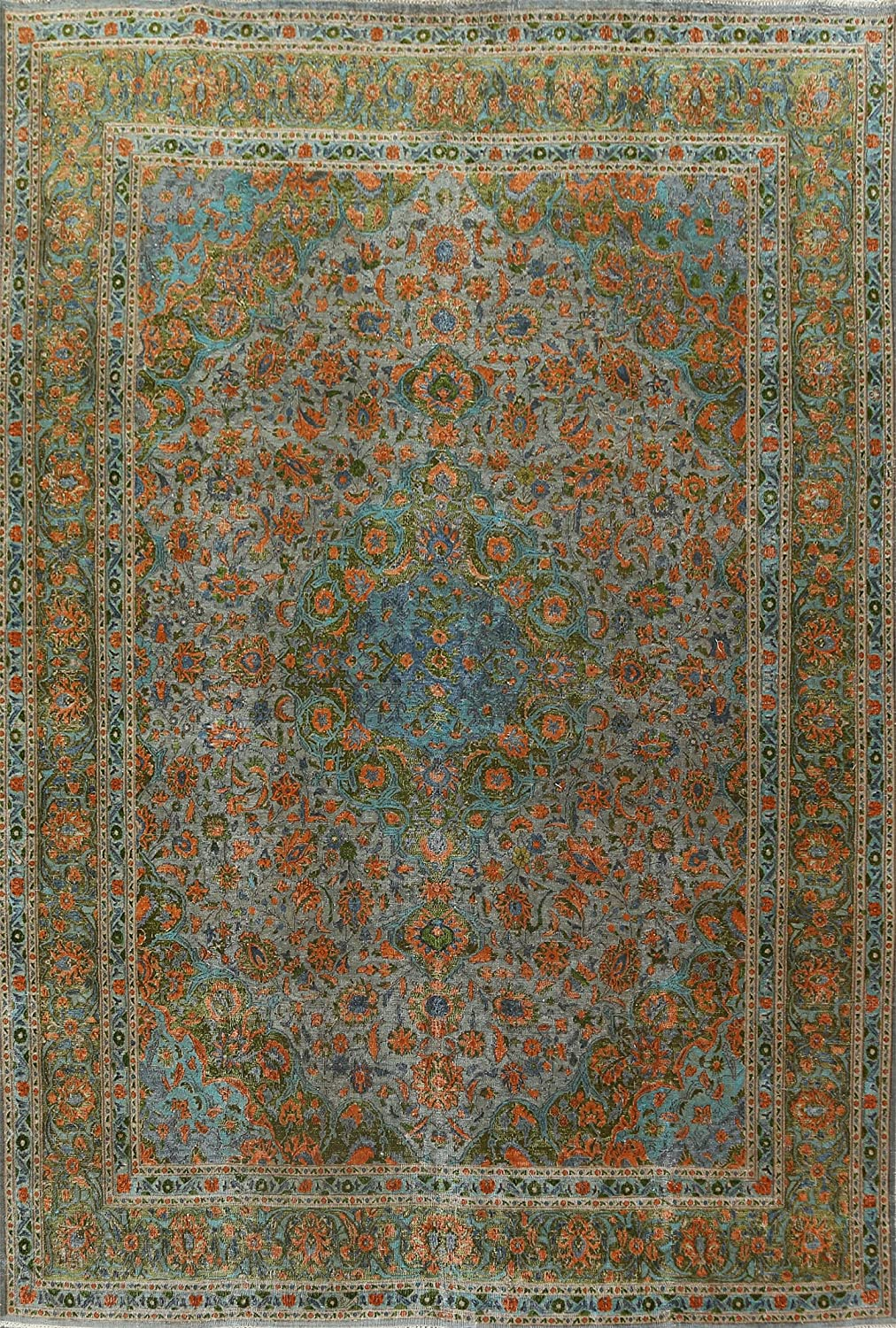Antique Grey Floral Distressed Over-Dye Kashaan Area Ru Oriental Our shop OFFers the best Challenge the lowest price of Japan ☆ service