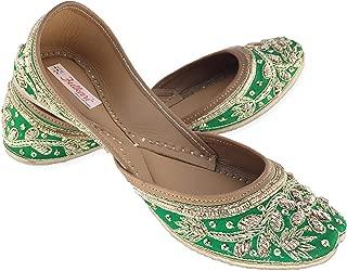 Fulkari Women's Murraya Genuine Soft Leather Jutis | Bite and Pinch Free Jutis | Punjabi Formal Jutti Flat Ladies Mojari | Bridal Ethnic Flats |