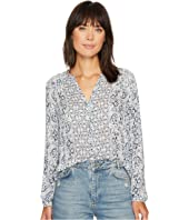 Lucky Brand Smocked Peasant Top