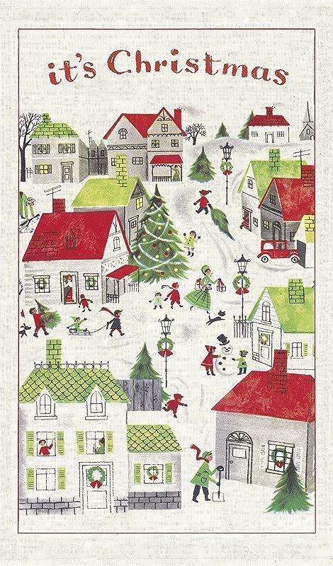 Cavallini Papers Christmas Village Tea Towel Multicolor