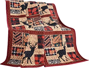 "LL Home Fall Quilt Decorative Throw Blanket, (60""x50""), Patchwork Deer"