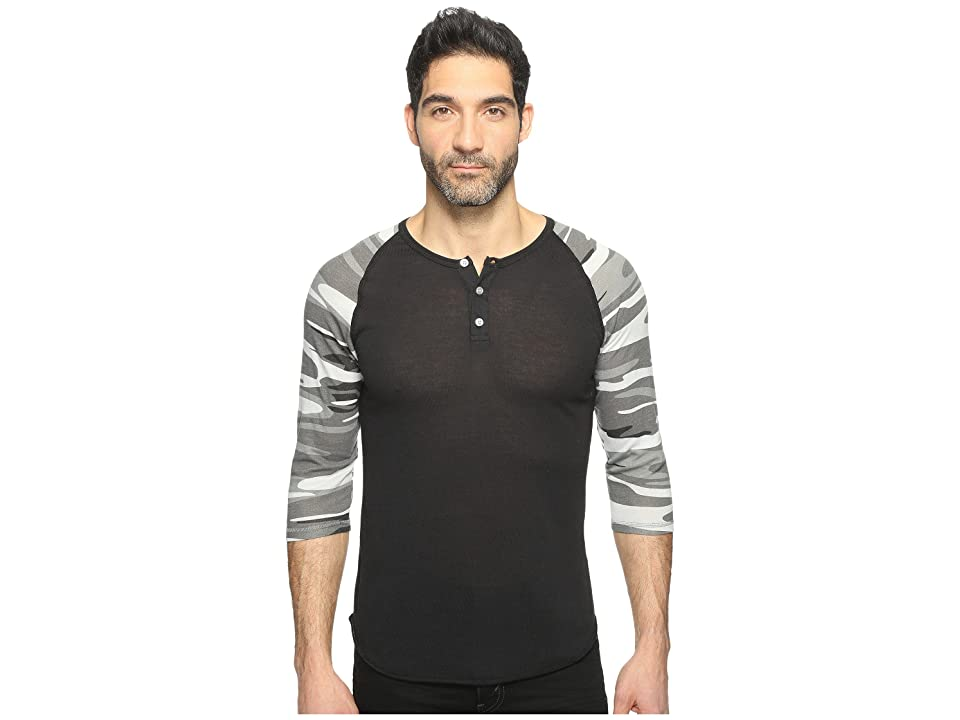 Alternative Printed 3/4 Raglan Henley (Eco True Black/Grey Camo) Men