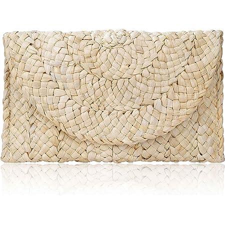 ISIYINER Stroh Clutch Handtasche, Damen Kupplung Geldbörse Umschlag Tasche Flache Korbtasche Sommer Strandtasche Große Brieftasche Boho-Stil für Damen